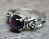 Spirit of Imbolc ring ... cast sterling silver / spiral scrolls / amethyst / US ring size 8