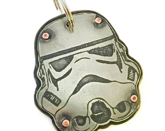 Storm trooper pet tag, your pets name and number on back