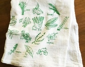 Green Herbs Kitchen Towels Floursack Cotton towels Green Herb Illustration Hand Drawn Towels Holiday Stocking Stuffer Gifts for Men
