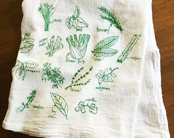 Green Herbs Kitchen Towels Floursack Cotton towels Green Herb Illustration Hand Drawn Towels Gifts for Men