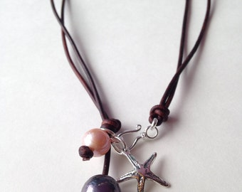 The Starfish Story Adoption Symbol Necklace with Pearls On Leather