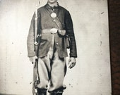 Civil War Military Soldier With Rifle and Boots TinType C223NP