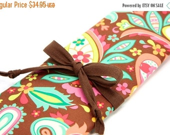 Sale 25% OFF Large Knitting Needle Case - Zoe - brown pockets for circular, straight, dpn, or paint brushes