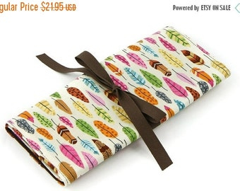 Sale 25% OFF Short Knitting Needle Case Organizer - Feathers - brown pockets for circular, double pointed, interchangeable or travel