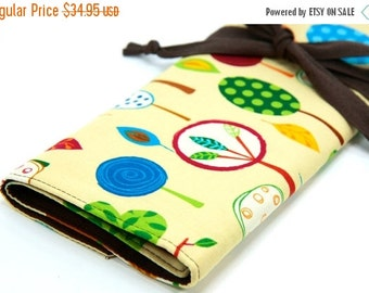 SALE large knitting needle case - art tool organizer - tree party - brown pockets for circular, straight, dpn, or paint brushes
