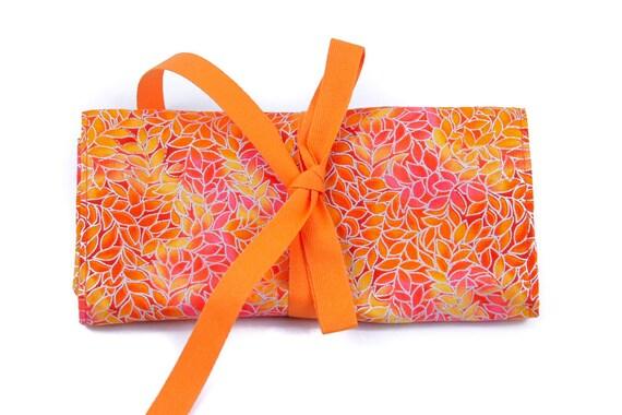 Crochet Hook Case Roll Organizer  - Mandarin - 26 orange pockets