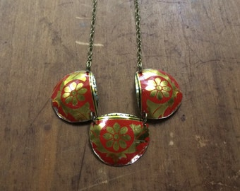 Red and gold floral vintage tin necklace