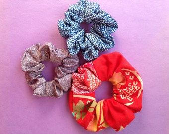 Japanese Kimono fabric Scrunchie - set of 3 Red, purple , blue