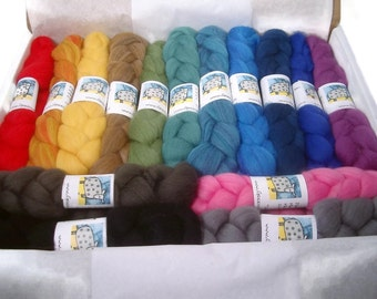 SAMPLE BOX of dyed Merino Wool Roving - 7.5 ounces - 15 Rainbow Colors