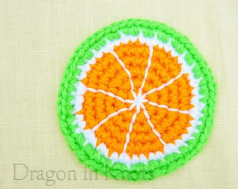 Green Tangerine Coaster - Single Drink Coaster - Crocheted Asian Fruit, new apartment gift for singles, college graduation gift