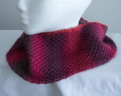"Soft Red Merlot Burgundy Neckwarmer Cowl 5 1/2"" wide Washable Unforgettable Yarn USA made *FREE SHIP"