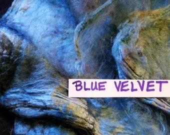 Handpainted Silk Hankies Mulberry Spin Nuno Felt BLUE VELVET