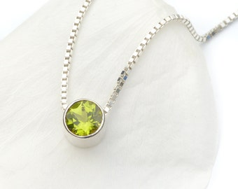 August Birthstone Necklace - Fair Trade 6mm Peridot Gem - Sterling Silver - Handmade