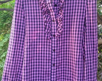 Vintage 80s checkerboard pink and black ruffled Henley blouse size small 6-8
