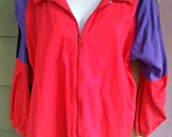Vintage 80s Colorblock Windsuit Jacket Size Small