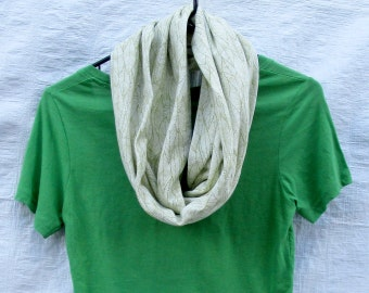 Green White Leaf Leaves Stretchy Cotton Jersey Knit Infinity Scarf