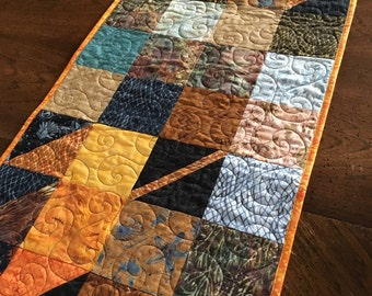 Quilted Table Runner Fall Charmer with Island Batik Tradewinds Fabric handmade Autumn Home Decor in Patchwork