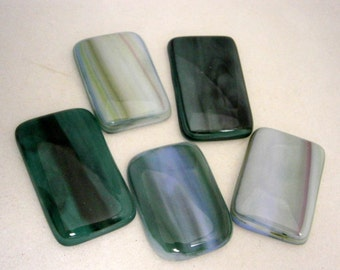 SALE Fused Glass Cabochon Set of 5 in Painterly, Glass Cabs  Willow Glass