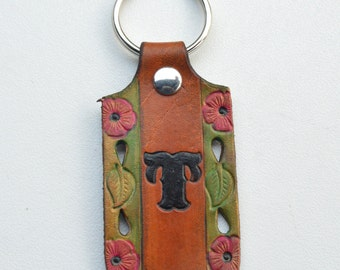 Initial Leather Key Chain or Key Ring Custom