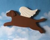 Chocolate Labrador Retriever Angel Dog Rustic Wood Decoration