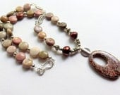 Jasper Beaded Necklace, Oval Pendant Gemstone Necklace, African Agate and Sterling Silver,  Brown Earthtones, Silver Gemstone Jewelry