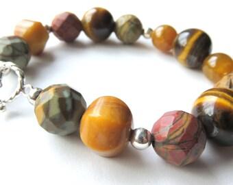 Ocean Jasper Bracelet, Tiger Eye Gemstones, Brown Boho Bracelet, Multi Gemstone Fashion Bracelet with Toggle Clasp. Sterling Silver