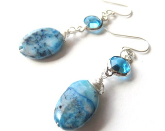 Azurite Oval Dangle Earrings, Blue Gemstone Drop Earrings, Sterling Silver Gemstone Earrings, Medium Stone Earrings, Ocean Blue Earrings