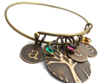 Mom Bangle Birthstone Family Tree Bracelet personalized jewelry Birthstones Initial Bracelet|Family Tree Bangle Gift Mothers Day birthstone