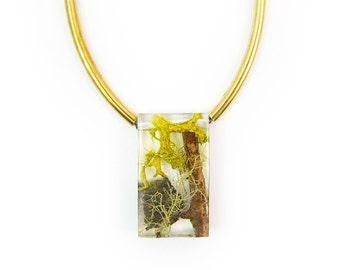 Terrarium Rectangle Bead and Brass Necklace • Nature Necklace • Eco Resin Terrarium Necklace • Geometric Brass Necklace • Nature Jewlery