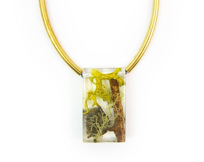 Terrarium Rectangle Bead and Brass Necklace • Nature Necklace • Eco Resin Terrarium Necklace • Geometric Brass Necklace • Nature Jewlery