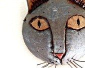 Custom Stoneware Funky Cat Art Mask for Home Decor