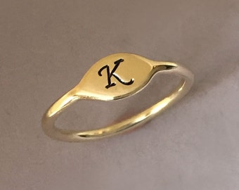 Initial Letter Ring in 14k Yellow Gold - Small Signet Pinky Ring