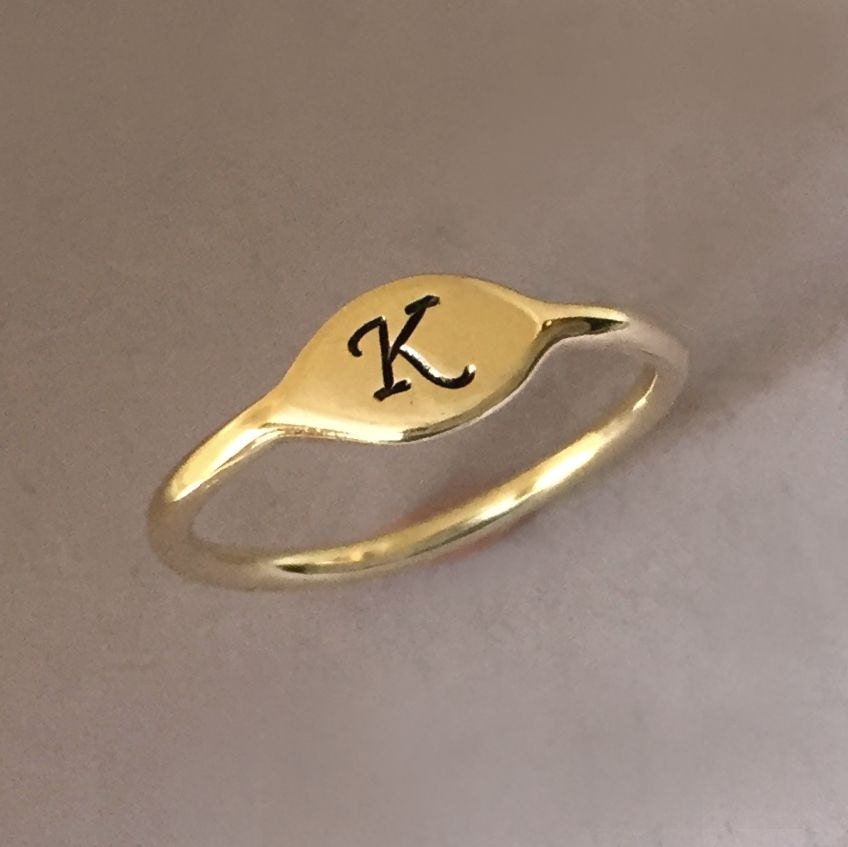 letter a gold ring initial letter ring in 14k yellow gold small signet 17510 | il fullxfull.869037221 f9oc