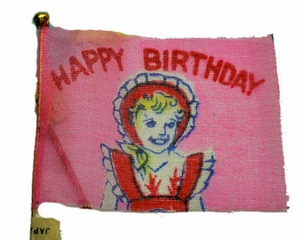 2pcs TINY BIRTHDAY FLAGS 1950s Vintage Silk Made in Japan