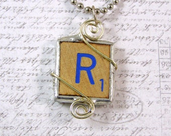 Blue Letter R Scrabble Pendant Necklace