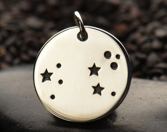 Zodiac Charms, sterling silver disc charm or pendant. Constellation Birthday Gift, Star sign, Gold, Bronze, DIY jewelry