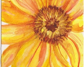 Sunflower watercolor painting original,  4 x 6  yellow sunflower painting, small floral art, yellow watercolor flower artwork