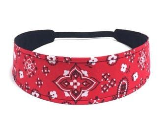Woman's Headband, Reversible Fabric - Red, White & Black Bandana  -  Headbands for Women - RED BANDANA