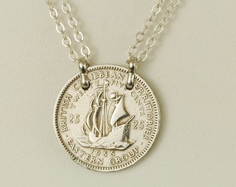 British Caribbean Coin Necklace 1955