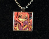 Faces of Faery 142 square metal necklace by Jasmine Becket-Griffith Art fairy dragon dragonling