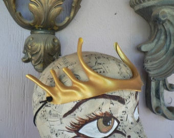 Gold Pixie Points, small head piece, hand painted leather headpiece costume accessory