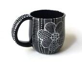 Ceramic Mug - Black and White Coffee Mug - Doodle Design Mug