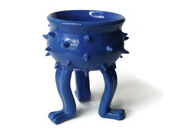 Bright Blue Grouchy Planter Pot with Spikes and Sculpted Feet - Spiked Succulent Planter