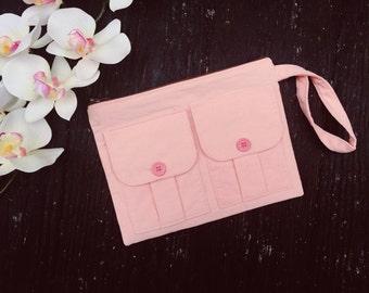 Corduroy Wristlet Wallet Blush Pink, Fabric Wristlet, iPhone Wallet Wristlet, Blush Pink Zipper Wallet, Zipper Pouch, Dorothy Wristlet