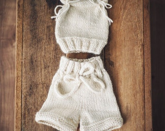 Preorder Shorties and Hat  Set NEWBORN props BABY
