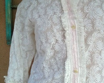 Vintage 1960s Robe Pink Illusion Lace 60s Dressing Gown Sz L B40