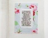 Greeting card, mini art quilt, sentiments, love, Valentine, ooak