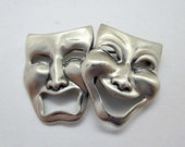 Beau Sterling Silver Comedy and Tragedy Mask Vintage Pin Brooch - Signed Beau Sterling Jewelry