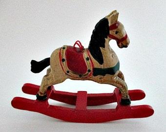 Rocking Horse Vintage Ornament - Wood Horse Ornament