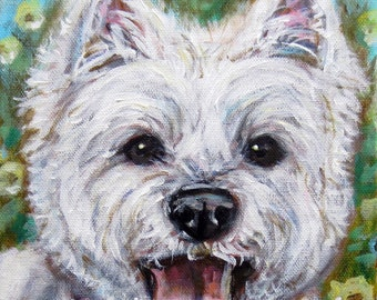 Westie West Highland White Terrier Custom Pet Portrait Ready to Hang dog painting 8 x 10 by Angie